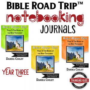 Bible Road Trip™ Year Three Bible Notebooking Journals help kids take great note on what they've learned about the Bible. These are awesome!