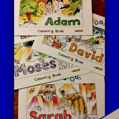 4 Bible Heroes Coloring Books: Adam, Sarah, Moses, & David