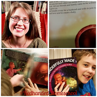 Jodi's kids from Insane in the Mom Brain with their copy of Wonderfully Made: God's Story of Life from Conception to Birth for kids from ages 5-11.