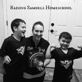 Kelly & Family of Raising Samuels Homeschool with their copy of Wonderfully Made: God's Story of Life from Conception to Birth for kids from ages 5-11.
