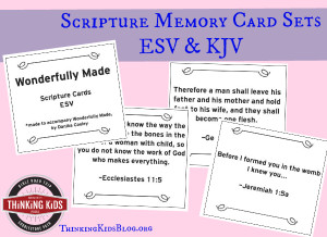 Free Scripture Memory Card Sets ~ ESV & KJV. We're celebrating Wonderfully Made: God's Story of Life from Conception to Birth is a sweet Scripture and science based picture book for ages 5-11.