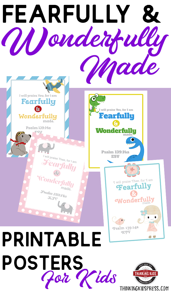 Fearfully & Wonderfully Made Verse Printable Posters for Kids Teach your kids the fearfully and wonderfully made verse with these cute printable posters for kids! Frame ready for your kids' favorite room.
