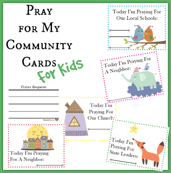 Pray for My Community Cards for Kids