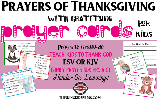 Prayers of Thanksgiving with Gratitude Prayer Cards for Kids