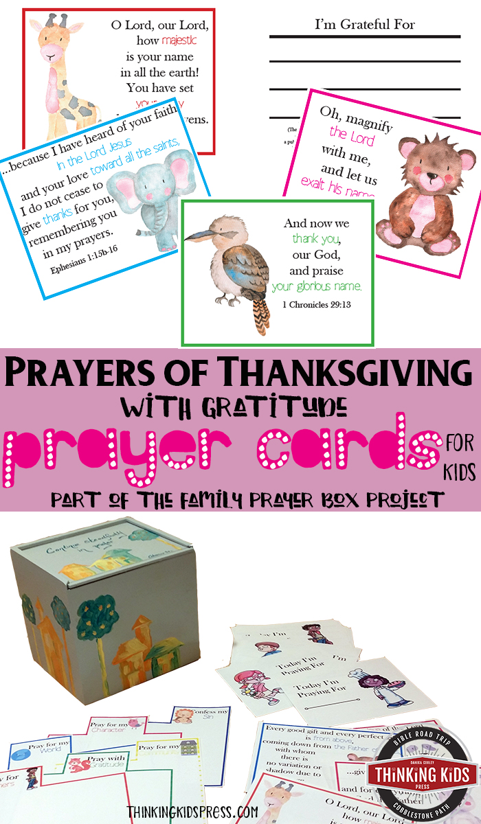 Prayers of Thanksgiving with Gratitude Prayer Cards for Kids Teach your kids to pray with gratitude with this set of prayer cards for kids - a part of the Family Prayer Box craft.