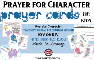 Prayer for Character Prayer Cards for Kids