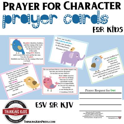 Prayer for Character Prayer Cards for Kids