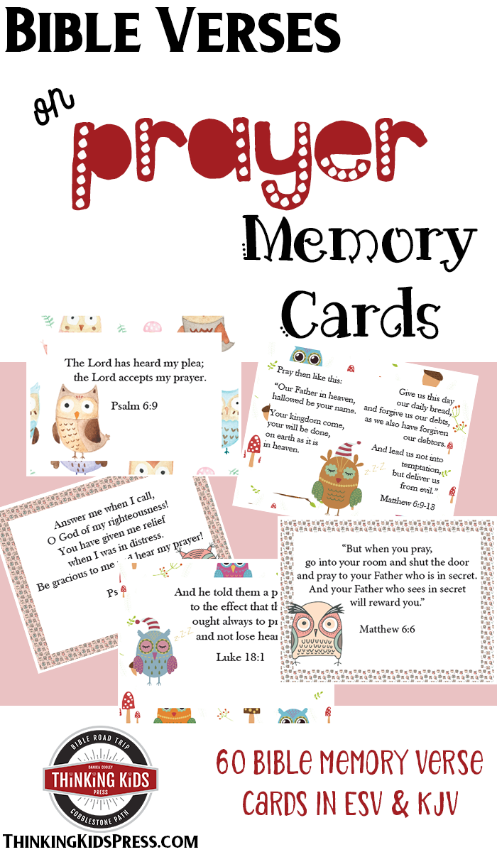 Bible Verses on Prayer Memory Cards Teach your kids about Bible Verses on Prayer with this fun set of printable Memory Cards -- 64 Prayer Bible Verses in all!