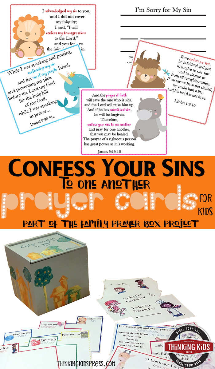 Confess Your Sins to One Another Prayer Cards for Kids Teach your kids the biblical principle of confess your sins to one another with this fun set of prayer cards for kids - part of the Family Prayer Box craft.