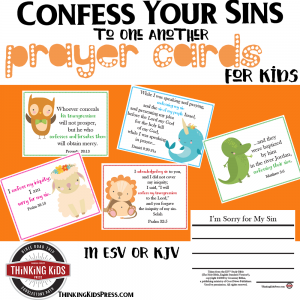 Confess Your Sins to One Another Prayer Cards for Kids
