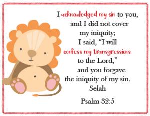 Confess My Sins Prayer Cards for Kids