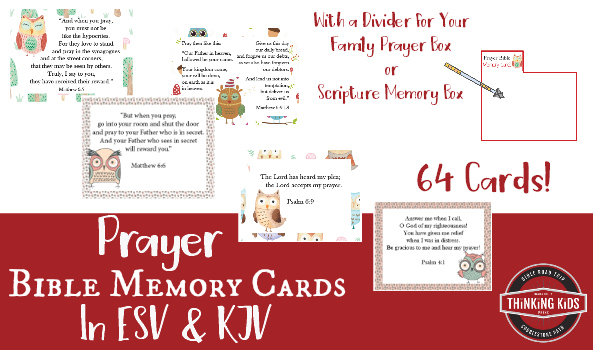 64 Prayer Bible Memory Verse Cards for Kids