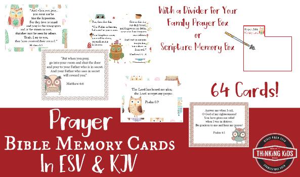 64 Prayer Bible Memory Verse Cards for Kids