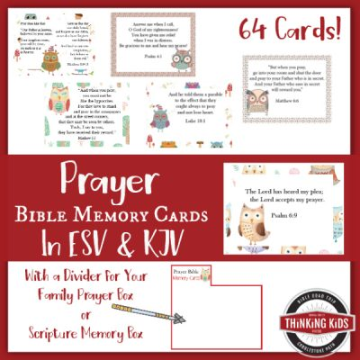 Prayer Bible Memory Verse Cards for Children