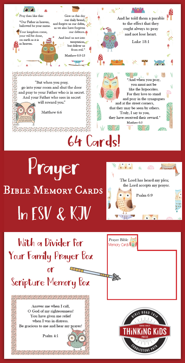 64 Prayer Bible Memory Verse Cards for Children