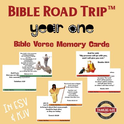 Bible Road Trip Year One Bible Verse Memory Cards {In ESV and KJV}