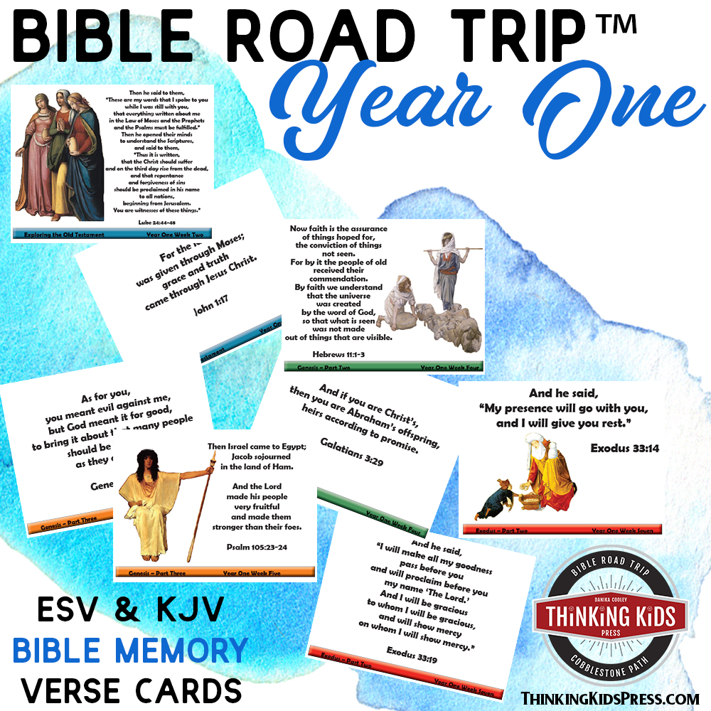 Bible Road Trip Bible Memory Verse Cards Year One | In ESV or KJV