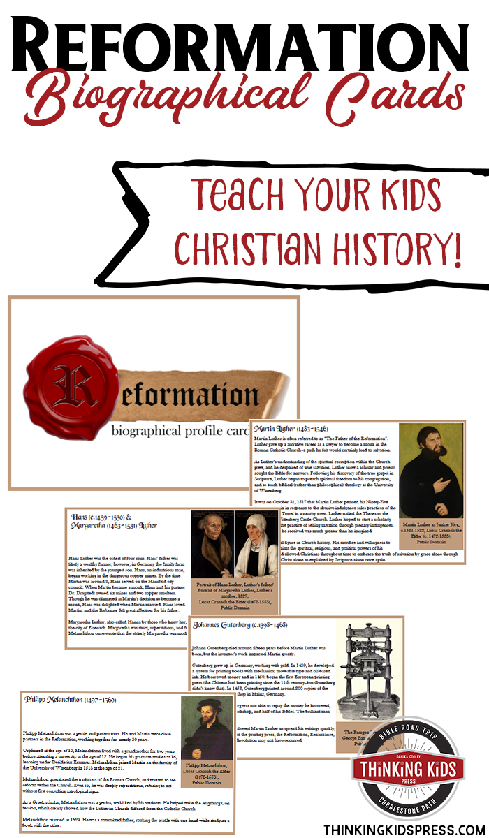 Reformation History for Kids: Reformation Biographical Cards