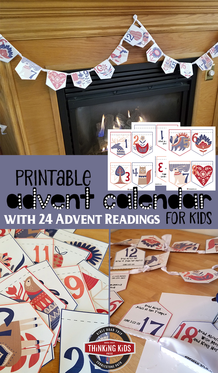 Printable Advent Calendar for Kids with 24 Advent Readings This printable Advent calendar for kids has 24 daily Scripture Advent readings. Point your children toward Christ with this easy-to-make Christmas craft!