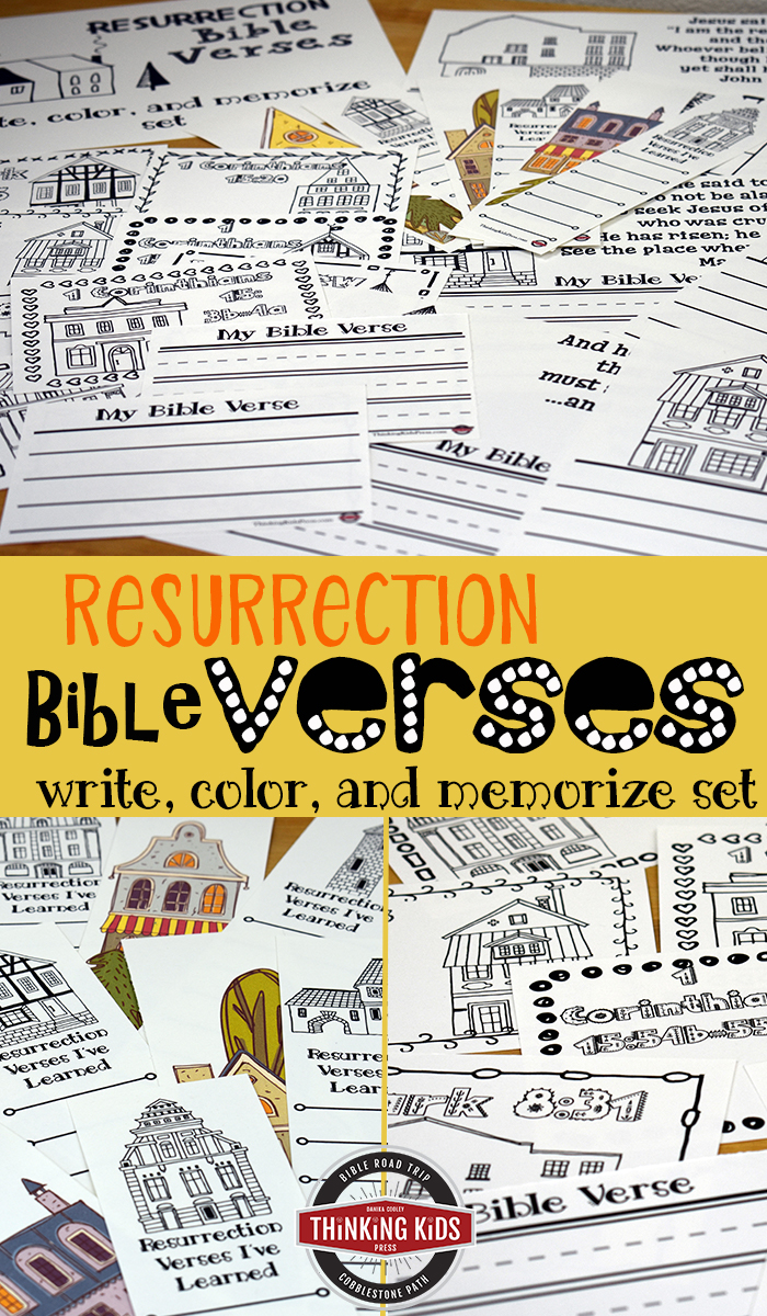Resurrection Bible Verses Write, Color, and Memorize Set Teach your kids about Easter with 8 Bible verses about the resurrection! They'll love this fun Write, Color, and Memorize copywork set.