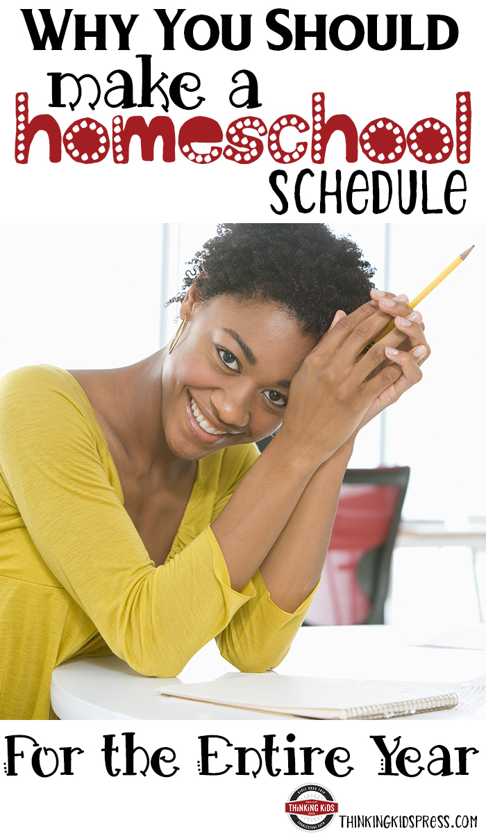 Why You Should Make a Homeschool Schedule for the Entire YearPlanning your homeschool year all at once allows you to develop: clear objectives, specific goals for your children, and planned learning experiences. You can be certain your kids will learn the skills they'll need for the future.