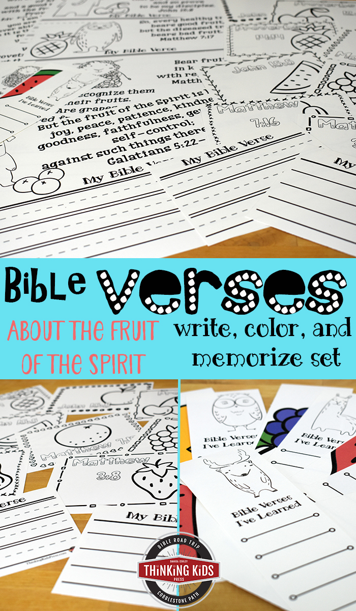 The Fruit of the Spirit Scripture Write, Color, and Memorize Set Make Bible memorization fun for your kids with coloring, copywork, and progress bookmarks as they memorize Bible verses about the fruit of the Spirit.