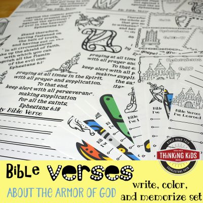 Bible Verses about the Armor of God for Kids: Write, Color, and Memorize Set