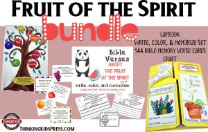 The Fruit of the Spirit Bundle: Lapbook, Write, Color, & Memorize Set, Bible Memory Verse Cards, and Craft
