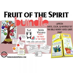 The Fruit of the Spirit Bundle: Lapbook, Write, Color, & Memorize Set, Bible Memory Verse Cards, and Craft