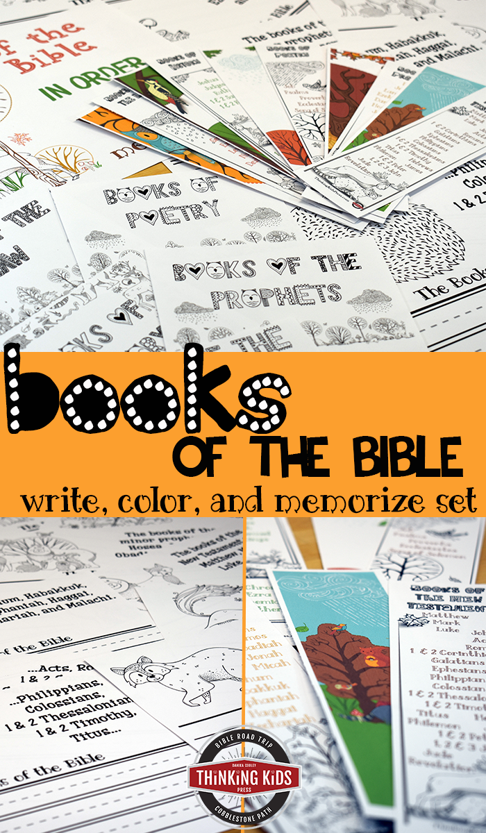 Books of the Bible in Order | Write, Color, and Memorize set Help your kids learn the Books of the Bible in order as they write, color, and memorize with copywork, memory cards, and bookmarks!