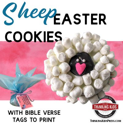 Decorated Easter Sheep Cookies with Gift Tags to Print
