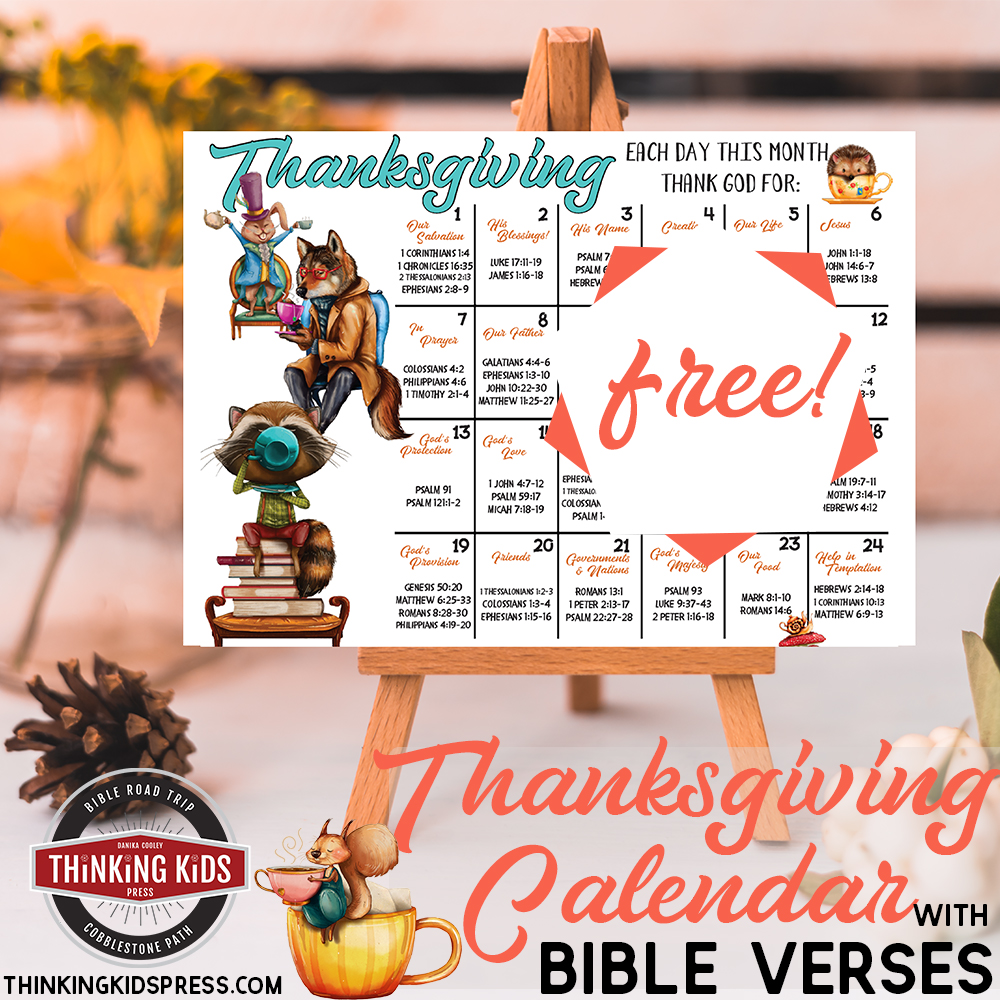 Printable Thanksgiving Bible Verse Calendar | 30 Days of Thankfulness for your Kids!