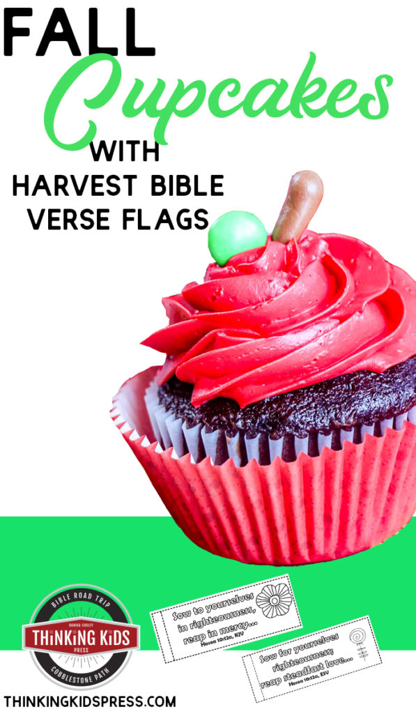 Fall Cupcakes with Harvest Bible Verse Flags